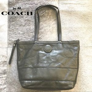 Coach Signature Gray Patent Leather bag.